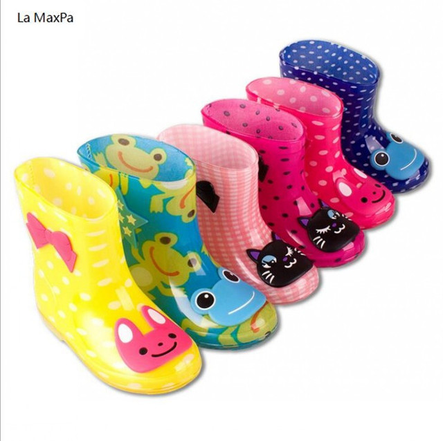 La MaxPa Children Spring Autumn Winter Boys Girls Baby Kids Candy Color with Frog Cat Rabbit Rain Boots Waterproof Shoes