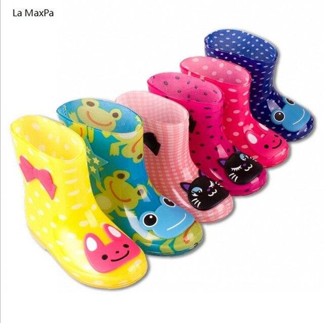 La MaxPa Çocuk Bahar Sonbahar Kış Erkek Kız Bebek çocuklar için şeker Renk Kurbağa Kedi Tavşan yağmur çizmeleri Su Geçirmez Ayakkabı