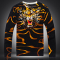Estilo chinês personalidade padrão cabeça do tigre impressão de diamantes camisola 2016 Outono & Inverno moda pulôver dos homens M-XXXL