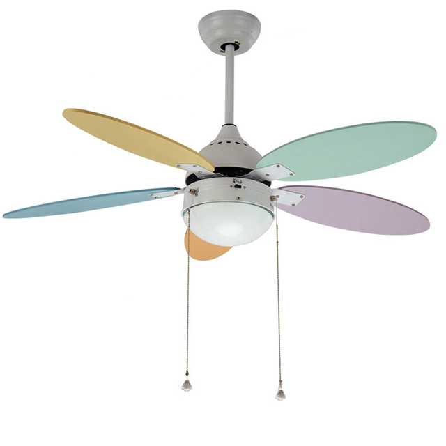 US $179.09 34% OFF|Simple Children Bedroom Fan Lamp Colorful Ceiling Fan  Light Kindergarten Ceiling Fan Brief Child Ceiling Fan Lamp-in Ceiling Fans  ...