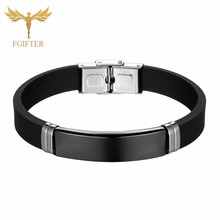 Fgift Fashion Black Bracelets Stainless Steel Silicone Bracelet Good Quality Jewelry Men Women Bangles