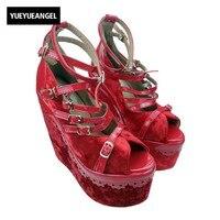 Nouveau Mode Haute Coins de Style Gladiateur Boucle Bracelet Noir Couleur Solide Boucle Cheville Parti Chaussures Pour Femmes Plate-Forme Roms Sandales