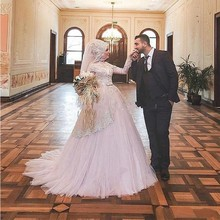 Pink High Neck Muslim Long Wedding Dresses 2016 New Long Sleeve Lace Bridal Dress Court Train With Hijab Tulle Robe De Mariage