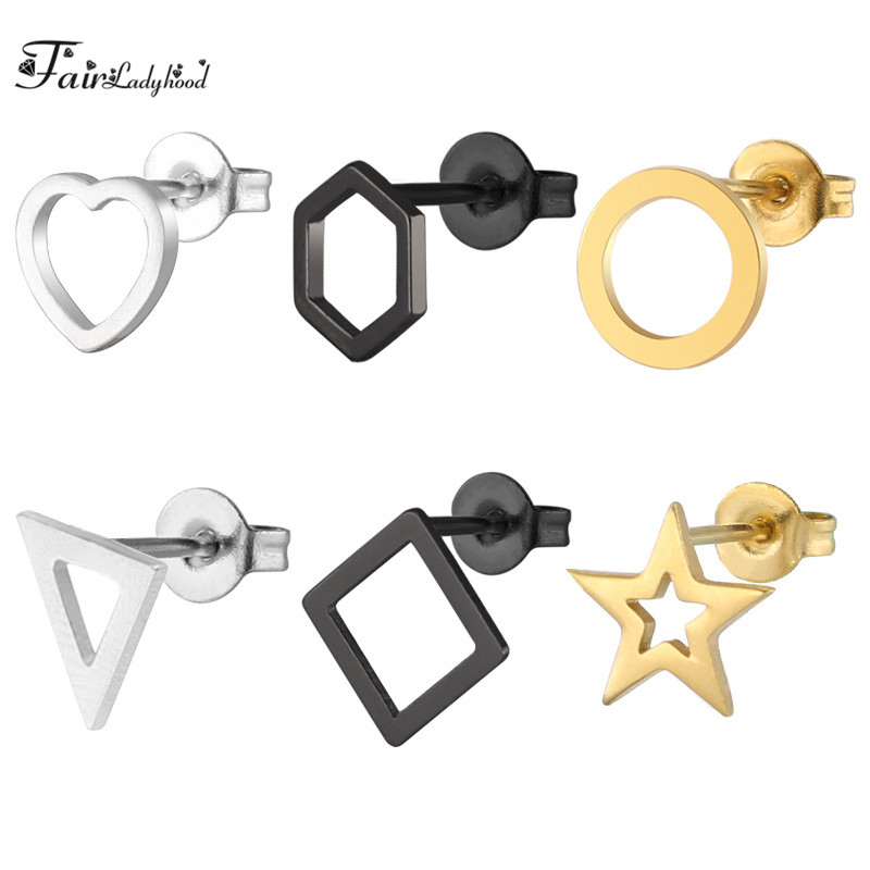 FairLadyHood 6Pairs Men And Women Black/ Gold/ Silver Stainless Steel Hypoallergenic Stud Earring Set For Hollow Jewelry Gift