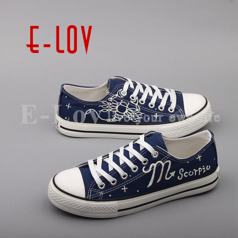 E-LOV Fashion Luminous Canvas Flat Shoes Espadrilles Hand Painted Scorpio Horoscope Casual Shoes Women For Valentine e lov hand painted casual canvas shoes diy custom graffiti animals flat shoe women oxford shoes sapatos feminino