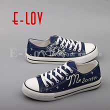 E-LOV Fashion Luminous Canvas Flat Shoes Espadrilles Hand Painted Scorpio Horoscope Casual Shoes Women For Valentine