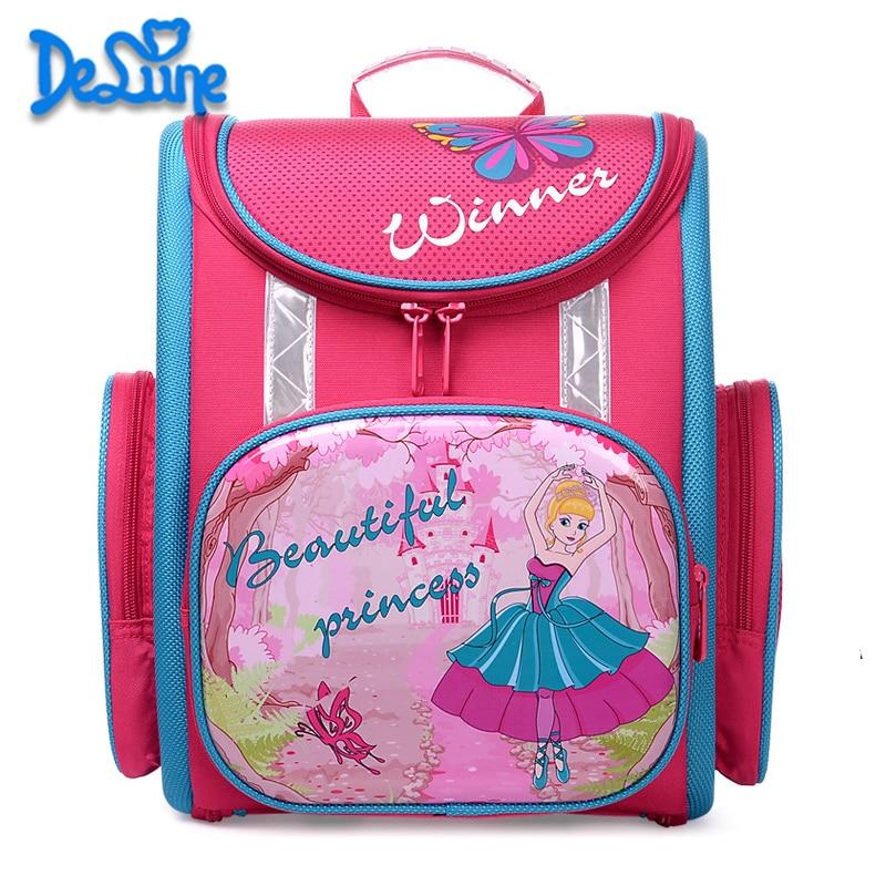 Delune School Bag 2018 Children Backpack High Quality Print Car Cat Brincess School Bags for Boys Girls Primary School Backpacks