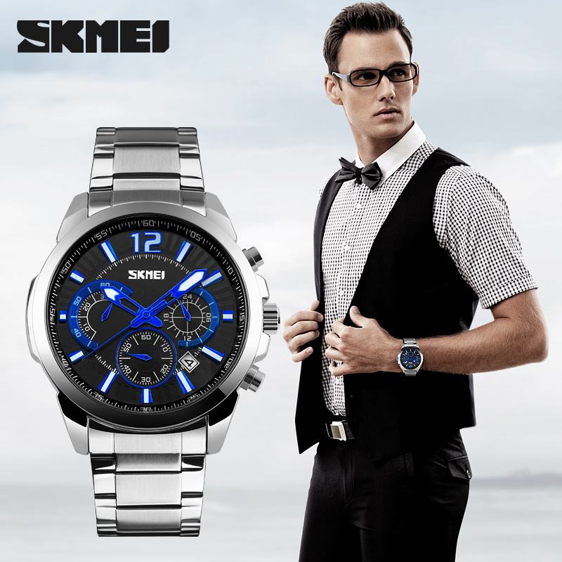 Watch Men SKMEI 9108 Fashion Multifunction Quartz Watches Stainless Steel Strap Waterproof Wristwatches
