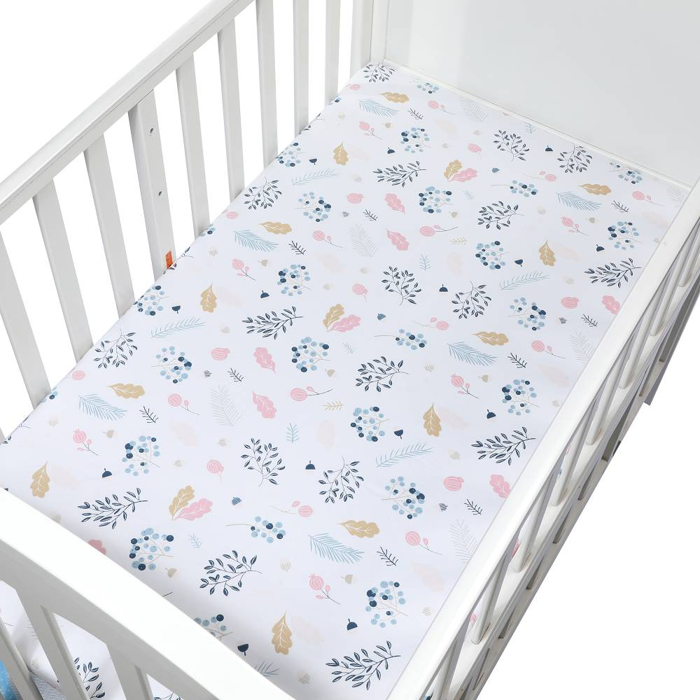 Soft Breathable Newborn Baby Crib Fitted Sheet Baby Bed Mattress Cover Potector Cartoon Newborn Bedding For Cot Size 120*65cm