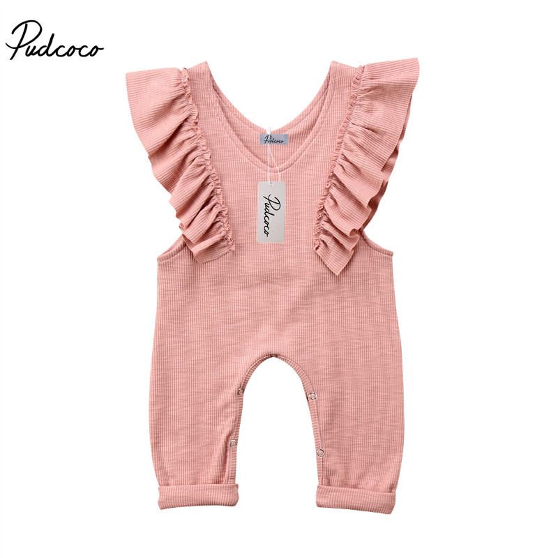 Pudcoco 2018 Summer Pleated Baby Girls   Rompers   Solid Color Sleeveless Ruffle Long   Rompers   Jumpsuit Girls Clothes Pink Brown 1-5T
