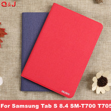 цена на Case for Samsung Galaxy Tab S 8.4 Ultra-thin PU Leather Auto-sleep Magnet Cover for Samsung Tab S 8.4 SM-T700 T705 case