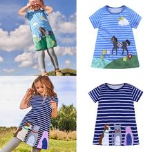 Telotuny 2018 Обувь для девочек летнее платье Лето для малышей Детская одежда для девочек мультфильм Платья для женщин в полоску Животные наряды одежда M28