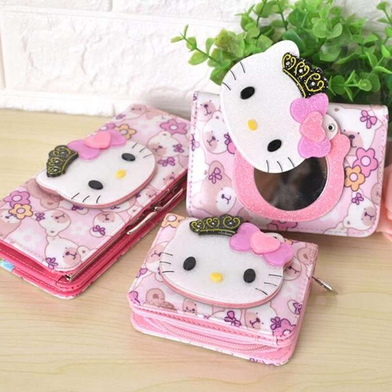 Long short anime hello kitty luxury brand leather wallet women wallets and pures coin purse portefeuille femme carteira feminina