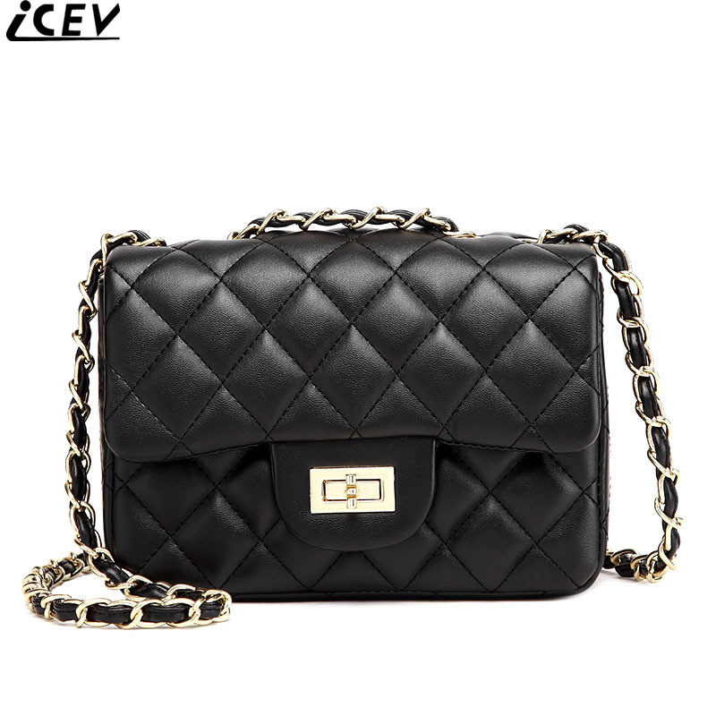 ICEV new designer top handle messenger bag lady quilted small shoulder bags fashion soft leather chain cross body bag cover flap 2017 fashion all match retro split leather women bag top grade small shoulder bags multilayer mini chain women messenger bags