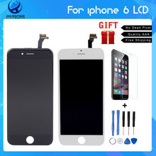 Mejor Calidad Sin Píxeles Muertos Grado AAA 4.7 pulgadas LCD para el iphone 6 asamblea de pantalla táctil con digitalizador de reemplazo partes