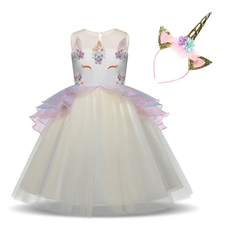 Fancy Kids Unicorn Dress for Girls Embroidery Flower Ball Gown Baby Girl Princess unicornio Dresses for Party Costumes vestido