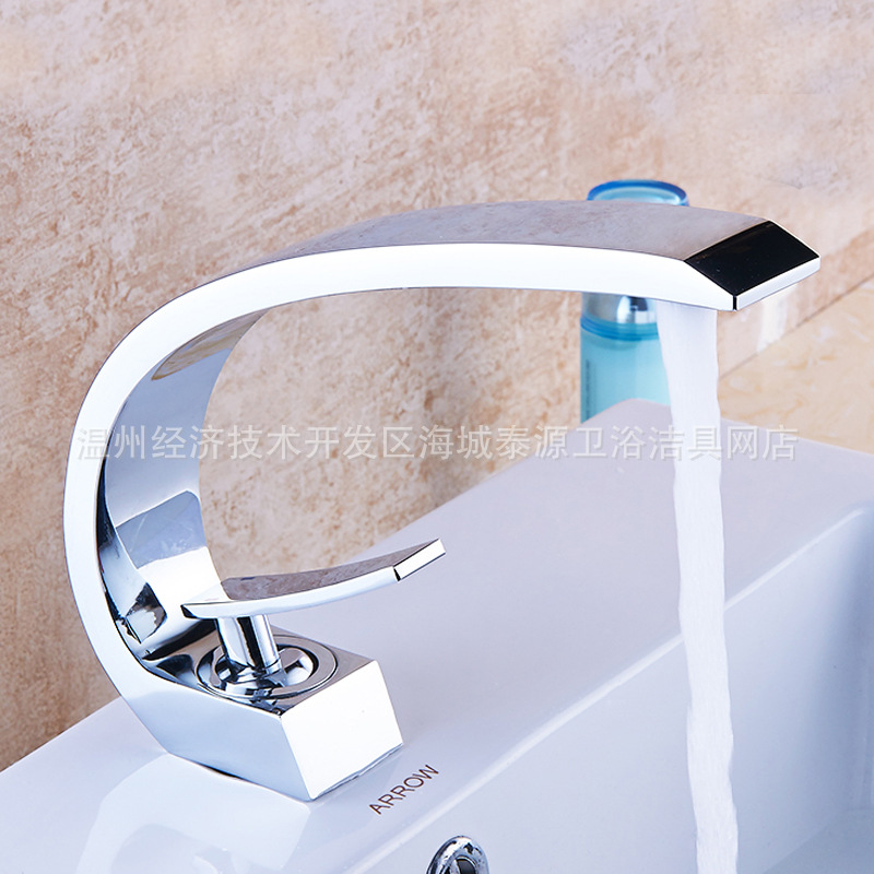 цены Faucet All Copper Basin Cold Hot Big Bend Faucet Black Copper Wire Drawing