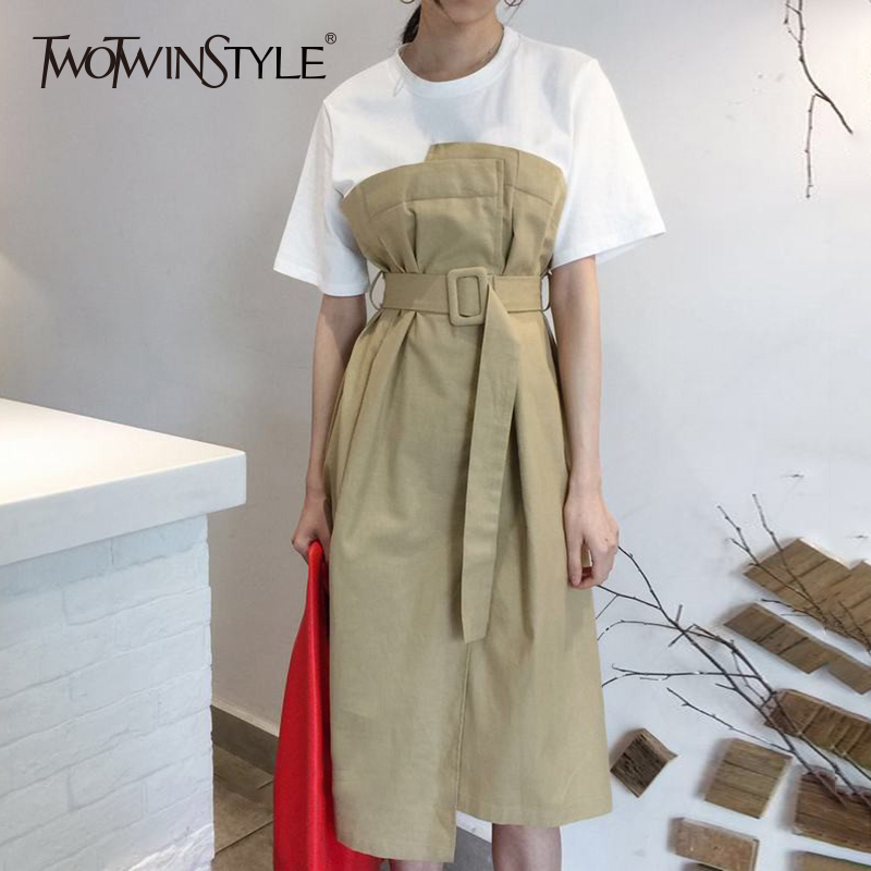 TWOTWINSTYLE Sashes Dress For Women Short Sleeve Patchwork Ruched High Waist Long Dresses Summer Female Korean
