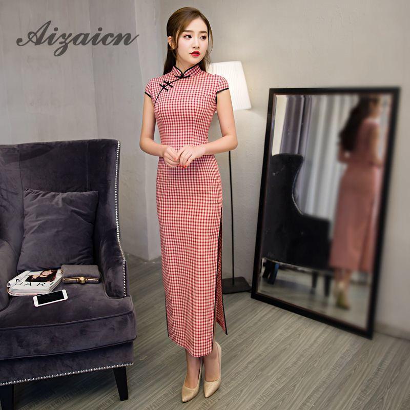 2018 Högkvalitativ Röd Lattice Modern Cheongsam Lång Qipao - Nationella kläder