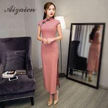 2018 높은 품질 레드 격자 현대 현대 Cheongsam 긴 Qipao 드레스 중국어 번체 의류 여성을위한 오리엔탈 스타일 드레스