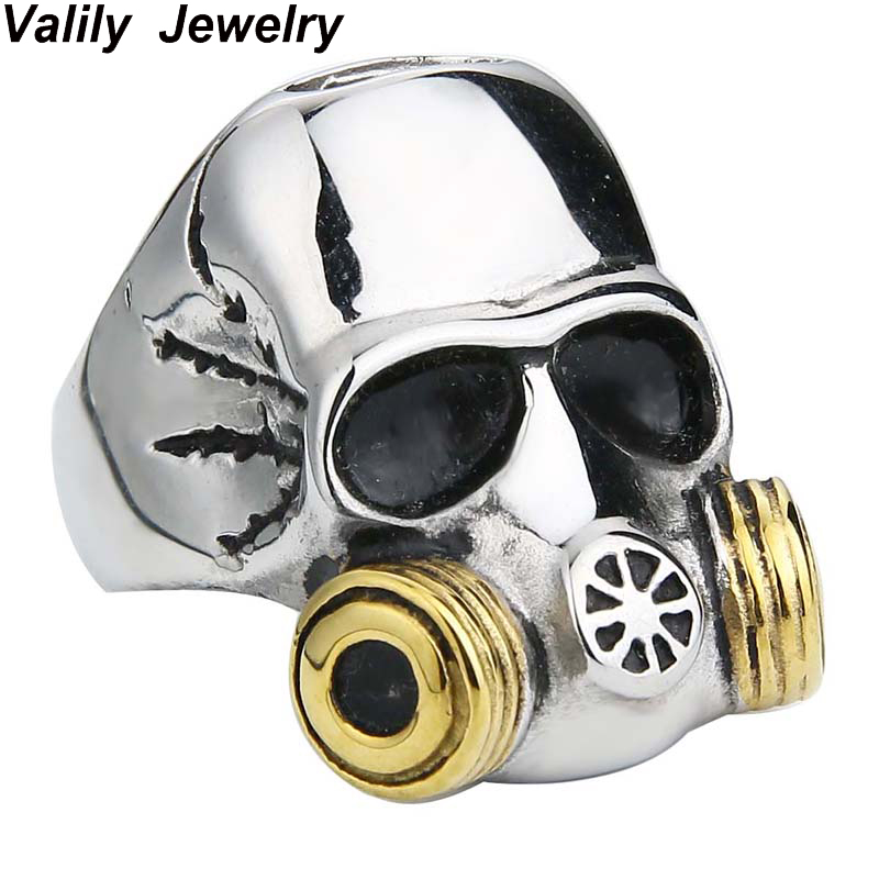 EdgLifU Anillo de calavera con máscara de gas para hombre Acero inoxidable Oro de alta calidad Negro Punk Biker Cráneo Anillos para hombres Anillo Joyería
