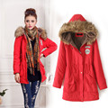 Women Military Style Winter Parkas Fur Hood Ladies Thick Fleece Lining Jacket Embroidery Badges Waist Drawstring Army Coat