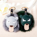 Black Leather Wallet Pom Pom Real fake Fur Fend  Doll Keychain Charm  Golf Cart Bag Pendant Strap Mini  Chain