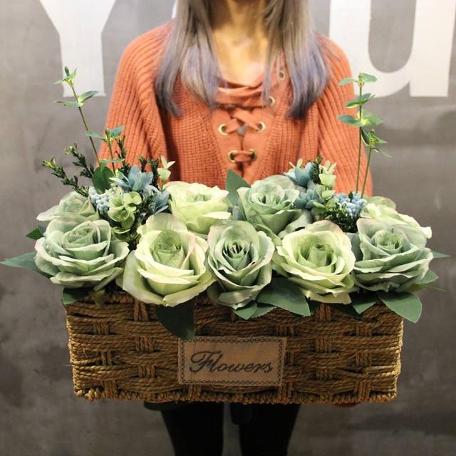 1 Set Rose Peony Persegi Panjang Besar Toko Kecil Jerami Keranjang Bunga  Buatan Vas Pernikahan Rumah 83832fce9d
