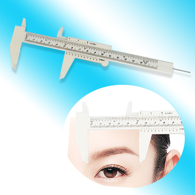 1 pcs Double Scale Sliding Gauge Permanent Makeup Eyebrow Ruler Caliper 3