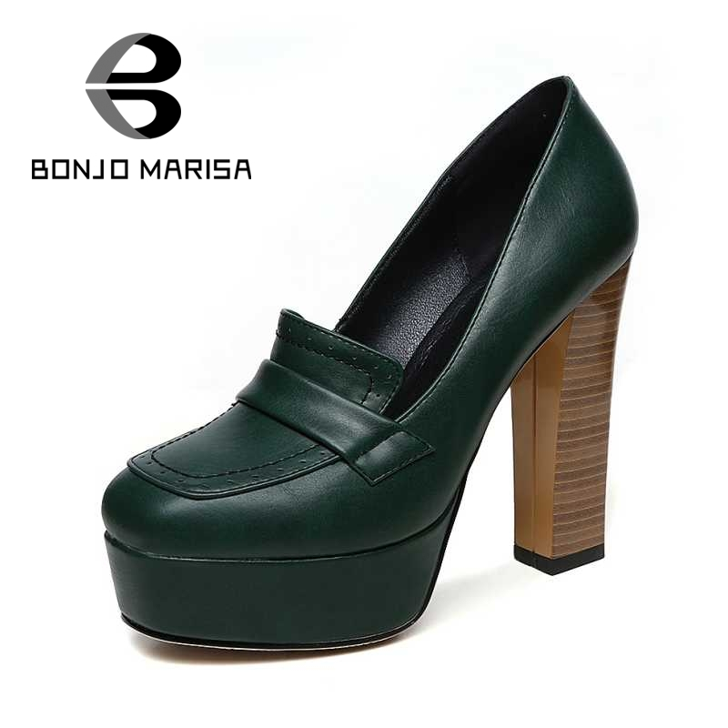 ФОТО BONJOMARISA Big Size 32-42 Sexy Women Square High Heels Party Wedding Shoes Round Toe Platform Pumps Black Green