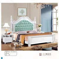 modern european solid wood bed Fashion Carved 1.8 m bed french bedroom furniture American style bed LLS829