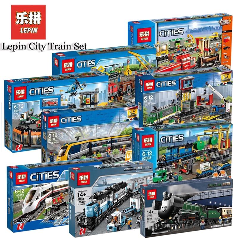 Lepin 02008 02009 02010 02038 02039 Emerald Night Train 21006 21007 02117 02118 21011 City Motor Train Sets Compatible Legoing
