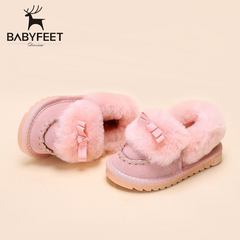 Winter Children sneakers baby infant cotton shoes big girl velvet low solid casual warm snow shoes kids sports shoes little girl