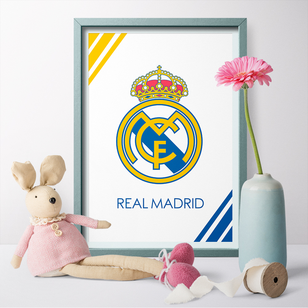 A Cavas Art Print and Poster Real Madrid C.F. LOGO Canvas Painting Wall Art Football Club Sports Poster Home Decor No Frame