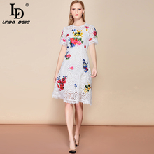 LD LINDA DELLA 2019 Fashion Runway Summer White Lace Dress Women's Short Sleeve Hollow out Floral Embroidered Midi Elegant Dress trendy short sleeve hollow out embroidered women s dress
