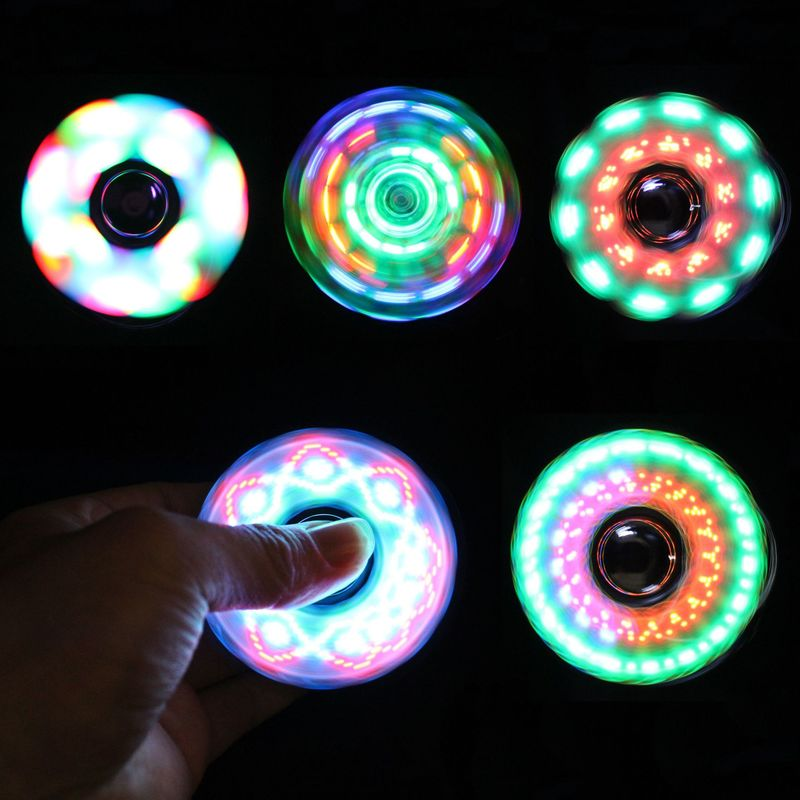 18 Multi-styling Luminous Fidget Spinner LED Flash Light Transparent Plating Hand Spinners Glow In Dark Light Stress Relief Toys