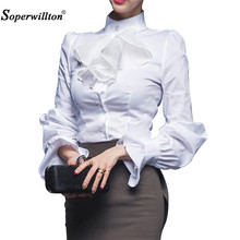 New 2018 Quality Spring Autumn Women Blouse Ladies White Office Work Wear Fashion Elegant Ruffles Long Sleeve Bodysuit Shirt #D(China)