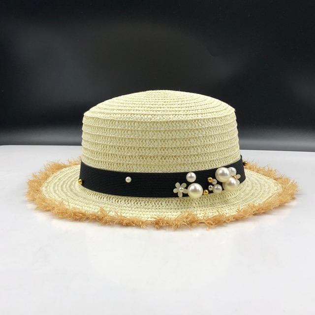 Flat top straw leisure pearl beach sun hat