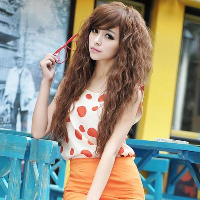 Long Curly Hair Wig Women Natrual Black Light Brown Sexy Ladies Female Party Cosplay Sexy Wigs With Bangs Halloween