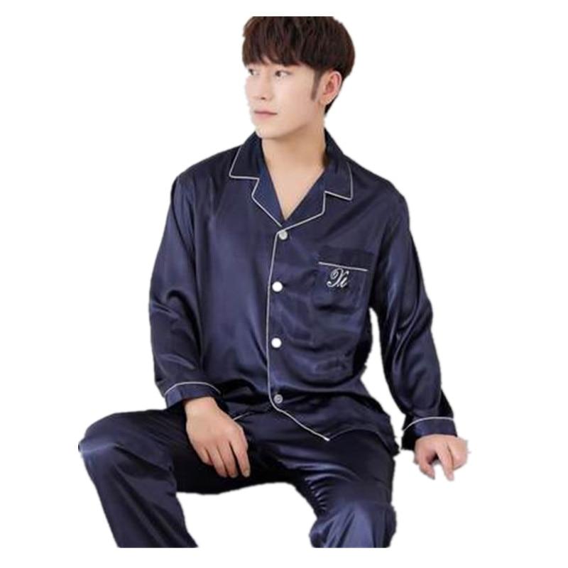 Mens Faux Silk Pajama Sets Mens Silk Night Sleepwear Men's Pajama Sets Short Sleeve Pajama Pants Stain Pajama Sets