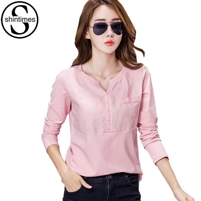 9f6b5dd1819d € 10.24 30% de DESCUENTO|Camisa De manga larga Shintimes Chemise para Mujer  blusa rosa Mujer De Moda 2018 Blusas y Tops para Mujer talla grande ...