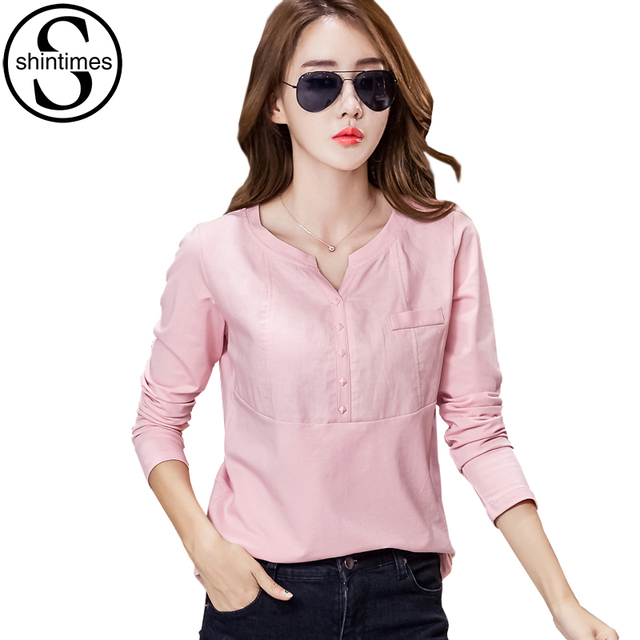 shintimes chemise femme womens clothes 2018 ladies linen blouses shirts pink fashion women. Black Bedroom Furniture Sets. Home Design Ideas