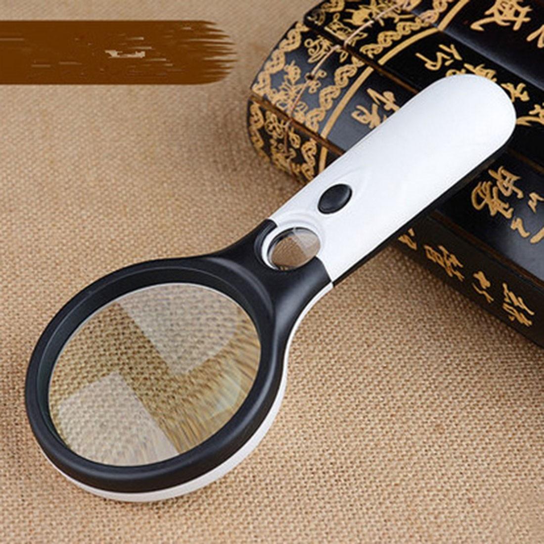 El 3X 45X Işıklı Büyüteç Mikroskop Büyüteç Yardım için Okuma Yaşlılar  büyüteç Takı Onarım Aracı Ile 3 LED