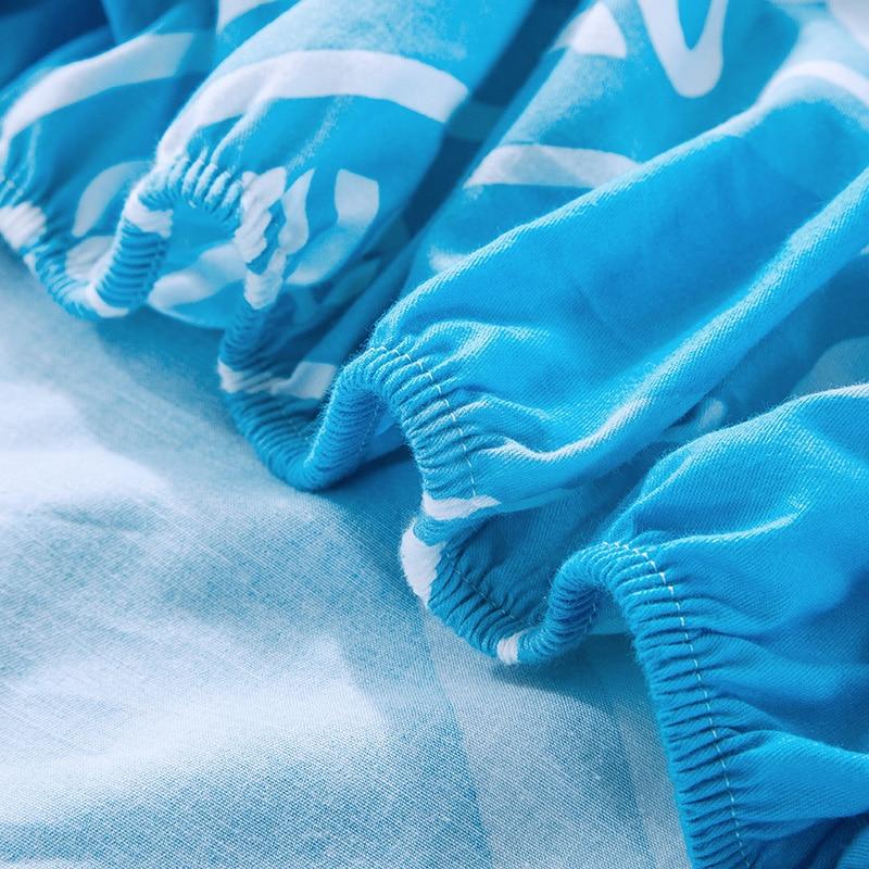 Personnalisé Bleu Lettres Motif 1 Pcs Coton housse De Matelas Drap Housse Lit Feuille Élastique Bande Matelas Protecteur 2 Tailles - 5