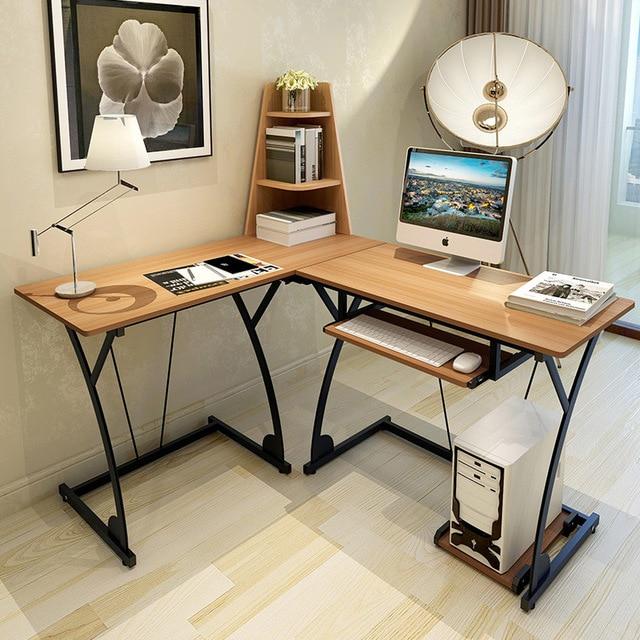 Modern Multi Functional Combination Of Simple Wood Home Desktop Computer Desk Multilayer Shelves Learning Office