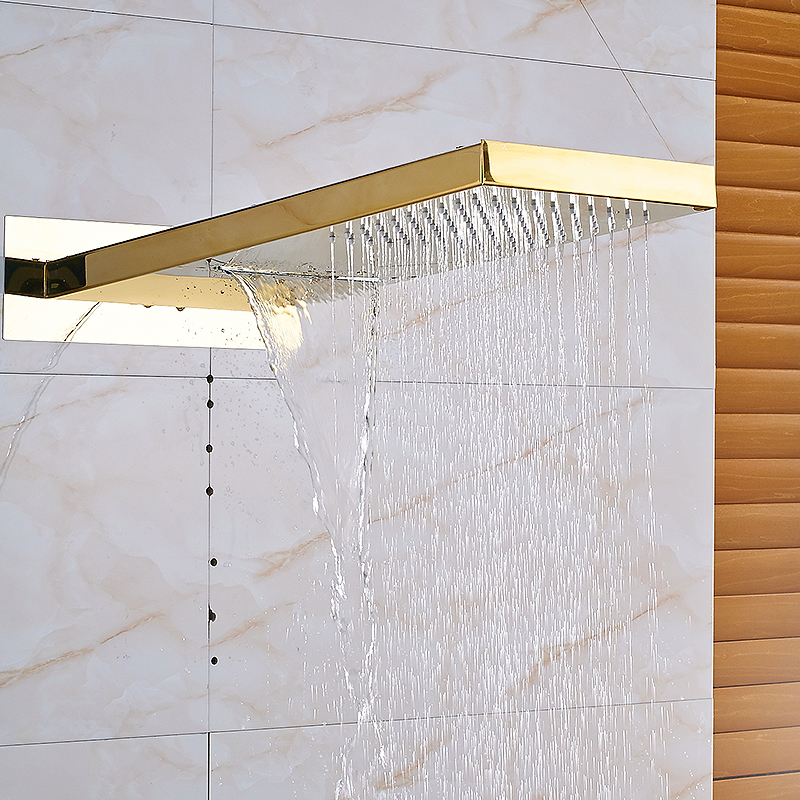 Four Colors Available Wall Mounted Bar Shape Rainfall And Waterfall Shower  Head Two Out Water Ways For Bathroom Bath In Shower Heads From Home  Improvement ...