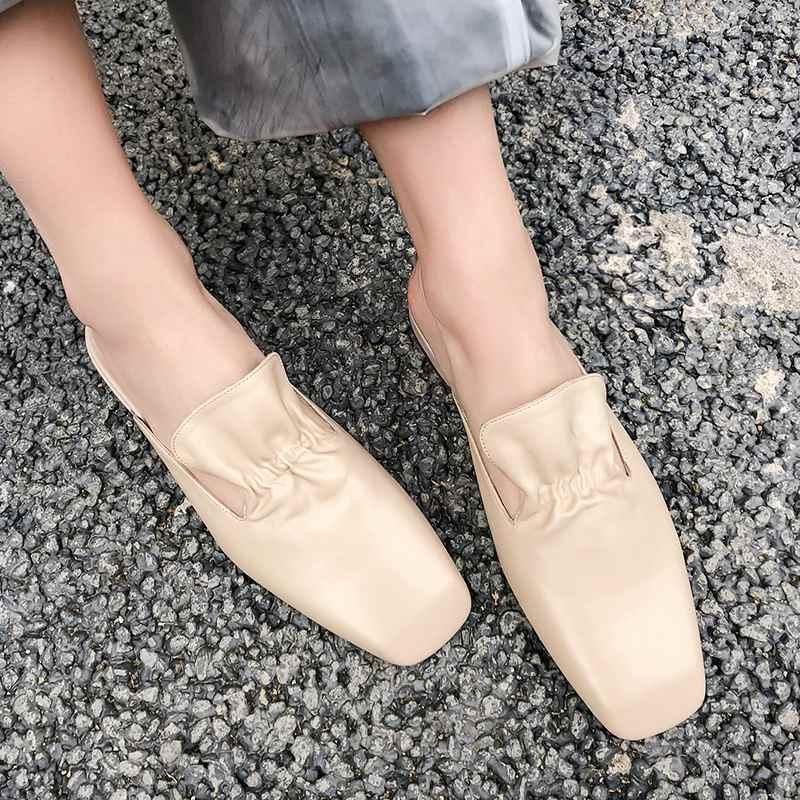 Krazing หม้อของแท้หนังรองเท้ารองเท้าสแควร์ toe ส้นด้านนอกรองเท้าแตะ jelly สีเขียว ruffles preppy สไตล์ mules l60-ใน รองเท้าใส่ในบ้าน จาก รองเท้า บน   2