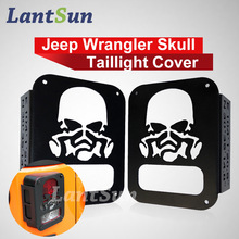 "Pair Lantsun Black Rear Taillights (Tail Light) Cover Light Guard "" Skull Mask "" For 2007 – 2017 Jeep Wrangler JK Unlimited"