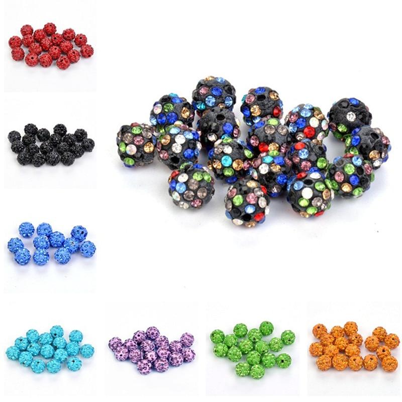 50pcs 10mm Polymer Clay With Montana Colorful Rhinestone Shamballa Disco Crystal Ball Beads