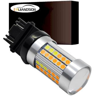 2x Canbus Error Free T25 3157 69smd 3030 Switchback LED Dual Color Bulb Turn Signal Light Amber/Yellow White P27/7W Led 10-30V 1xhigh power 1157 5630 20smd dual color type 2 switchback white amber yellow switchback led drl turn signal parking light bulbs
